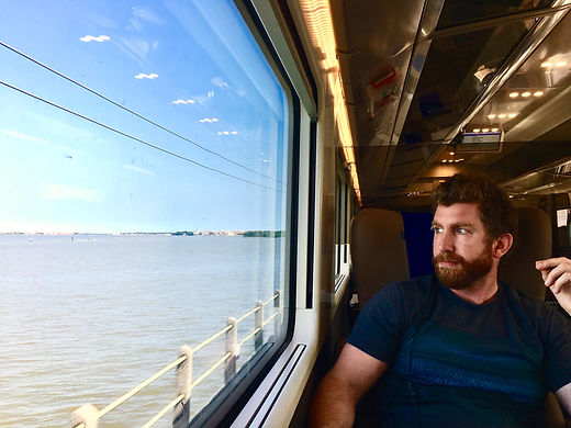 looking out of a train