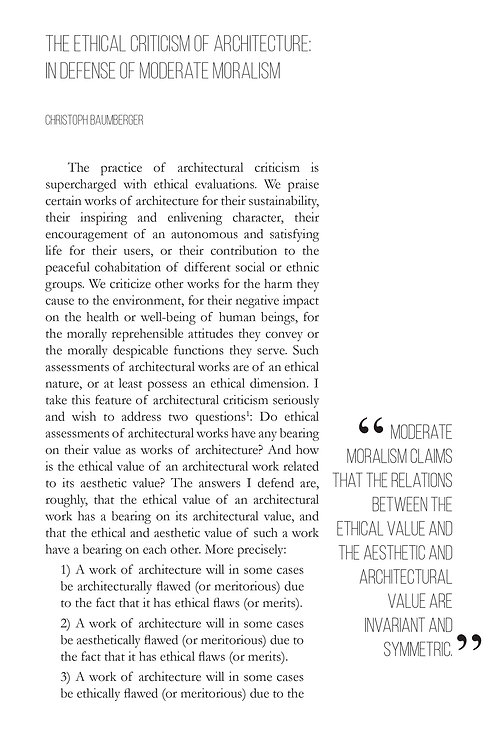 V1N2 - The Ethical Criticism of Architecture / by Christoph Baumberger