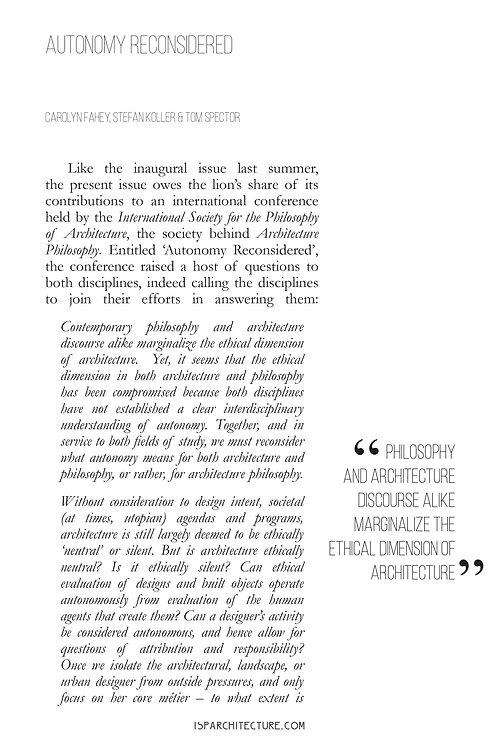 V1N2 - Editorial / by Carolyn Fahey, Stefan Koller, and Tom Spector