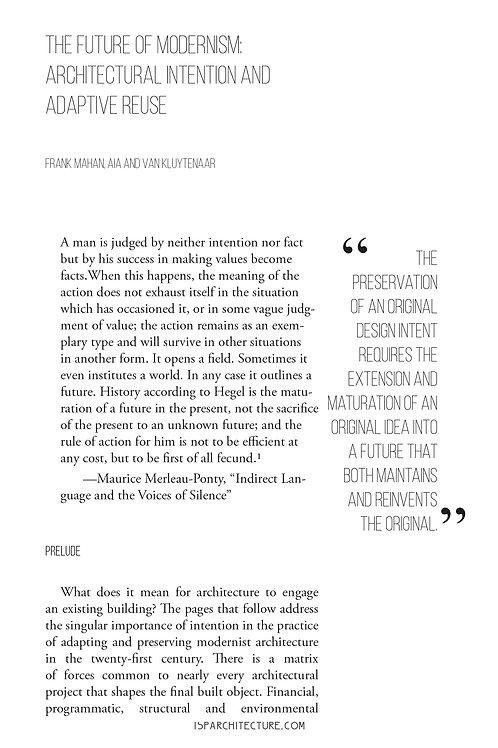 V5N1-  The Future of Modernism / Frank Mahan, Van Kluytenaar