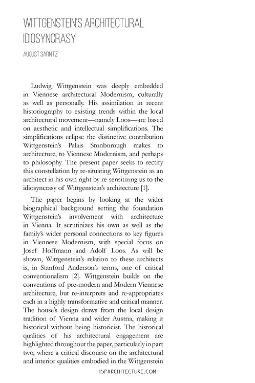 V2N2 - Wittgenstein's Architectural Idiosyncrasy / by August Sarnitz