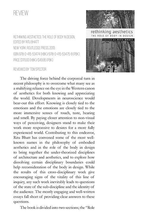 V1N1 - Review: Rethinking Aesthetics / by Tom Spector