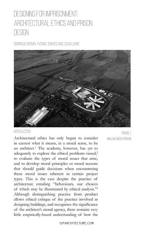 V4N1 -  Designing for Imprisonment / Dominique Moran, Yvonne Jewkes, Colin Lorne