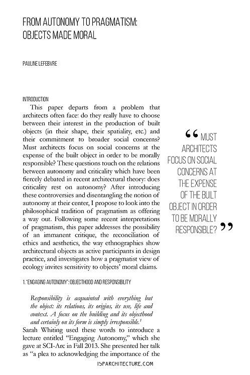 V2N1 - From Autonomy to Pragmatism / by Pauline Lefebvre