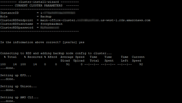 This time, you will tell the Wizard that this is the Backup node and it will only ask you for the Cluster RDS information before confirming that the information is correct (it will obtain everything else it needs from RDS automatically). Once confirmed, it will install necessary core utilities and then offer to begin the integration with the Cluster.