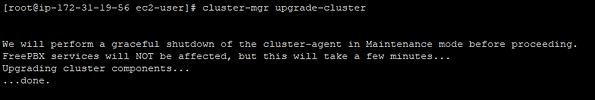 screenshot of cluster-mgr upgrade-cluster