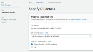 RDS - Step 2 - Instance Specifications