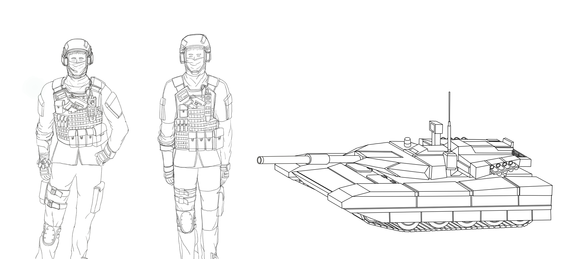 Tank crew and Type 22 Tank - Personal art project
