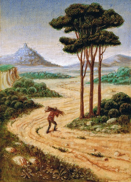 Landscape with figure carryng wood
