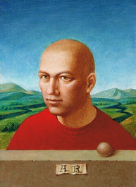 Bald young man