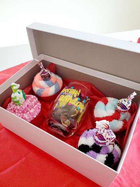 Fuzzy Sock Cupcakes Gift Box