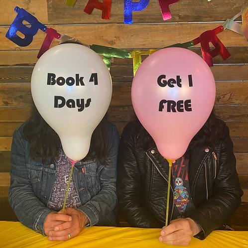Book 4 Days Get 1 FREE!!!