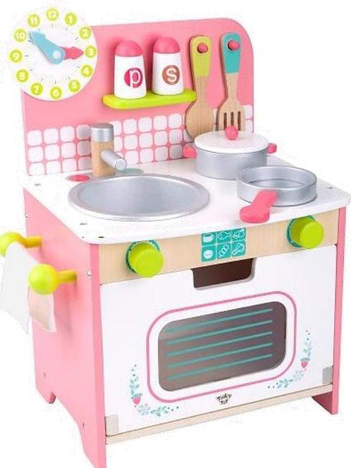 Cozinha branca e rosa