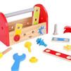 Uma caixa de ferramentas ou outro brinquedos de madeira da linha