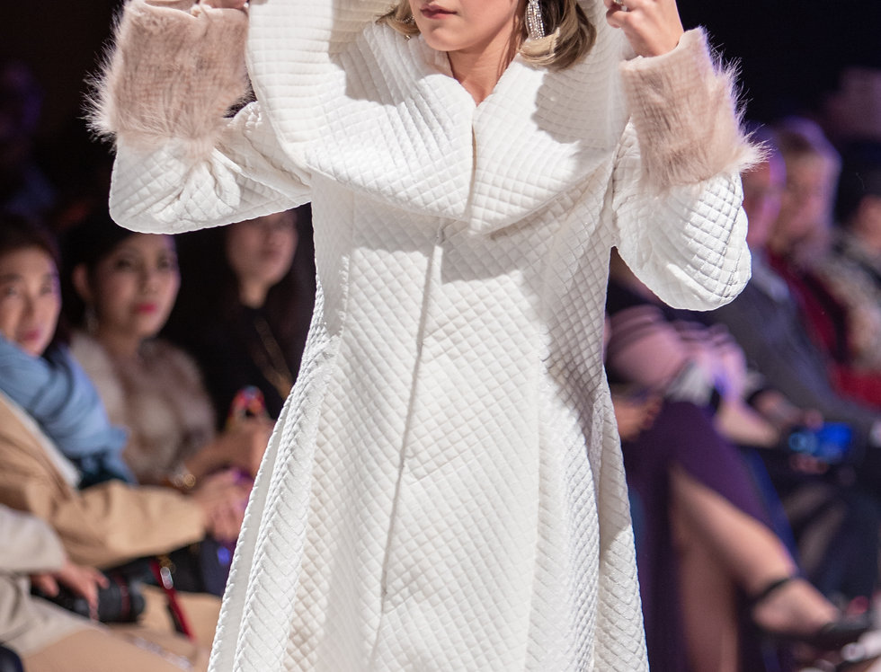Cream Fur Coatdress