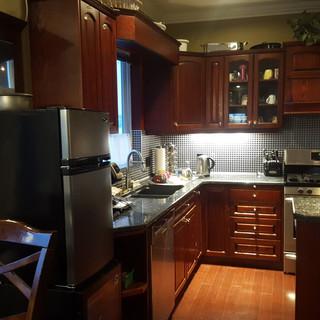 Dark cabinets (before).