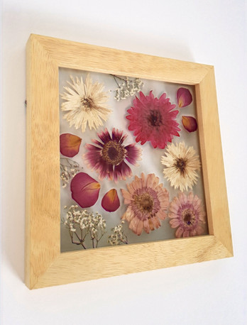 Pressed & framed remembrance flowers commission 2020