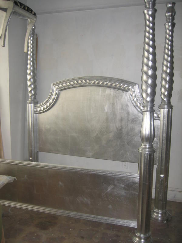 Silver Leaf Four Poster Bed
