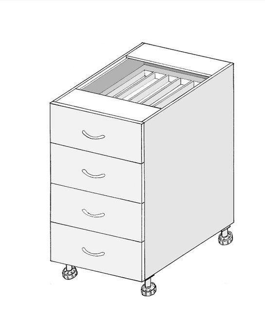 Kitchen 4 drawer base cabinet 870mm high x 580mm deep