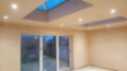 Inside single storey with roof lanterns.