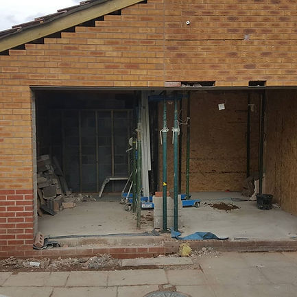 box section steel above bifolding doors.