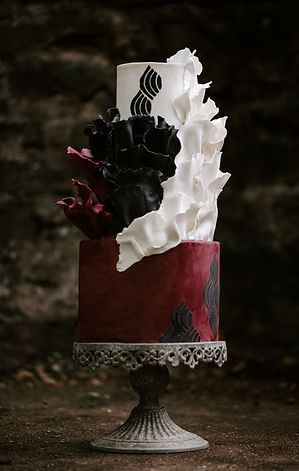 Bold Wedding Cake, Burgundy and Black Wedding Cake