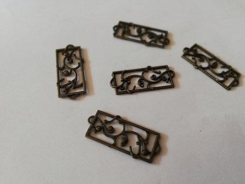 Lot 5 breloques 14x 40 mm rectangles bronze