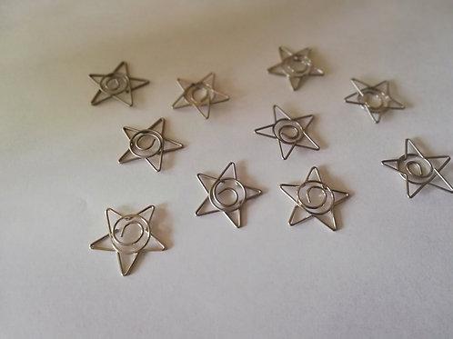 Lot de 10 paper clip rond Etoile 20 mm argent