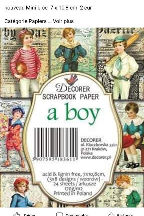 Mini Bloc a boy  7 x 10,8 cm