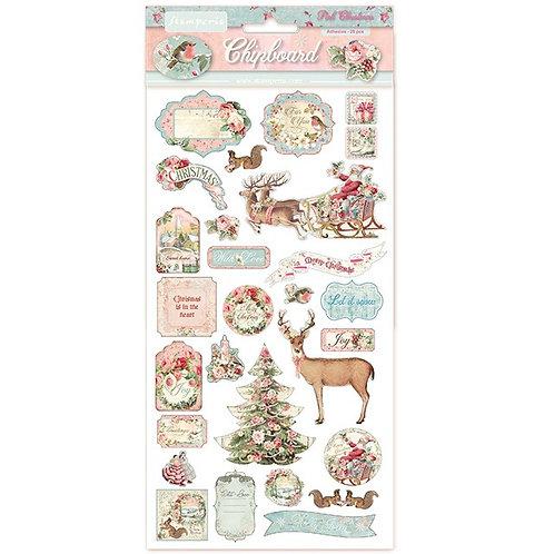 Chipboard Pink Christmas DFLCB06