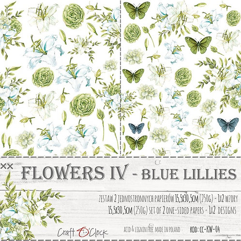 Lot de 2 feuilles Flowers IV-blue Lollies 15.5x30.5cm