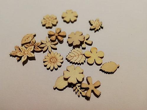 lot embellissement feuilles et fleurs x10