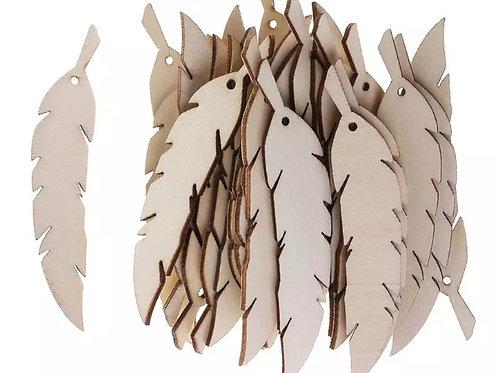 lot de 5 plumes 10 cm en bois