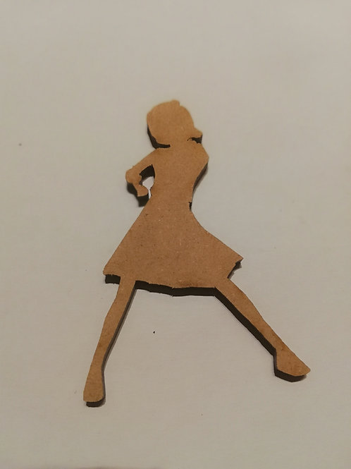 embellissement bois 2 mm danceuse  7 x 3 cm