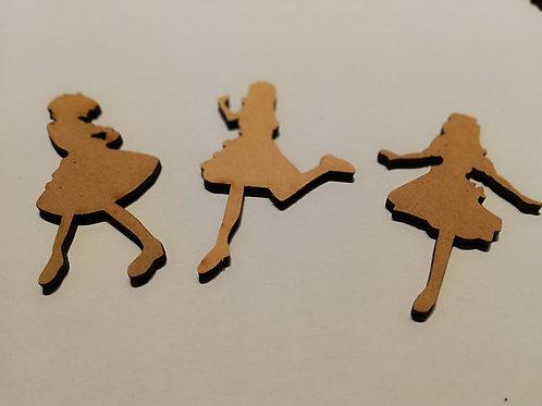 lot embellissement bois 2 mm danceuses  7 x 3 cm