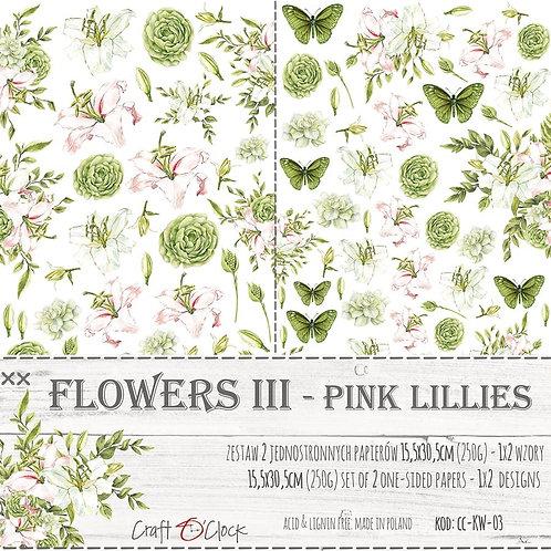 Lot de 2 feuilles Flowers II-Pink Lollies 15.5x30.5cm