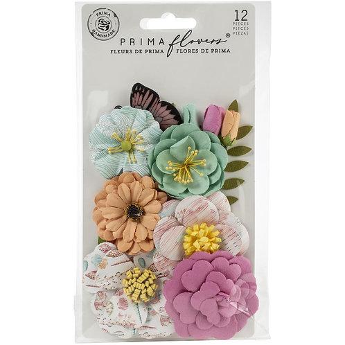 Fleurs en papiers et papillons Prima Marketing