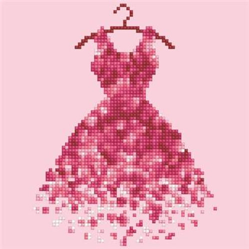 Broderie diamant robe rose