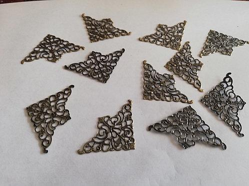 Lot de 10 COINS Metal bronze (2) plat 50 x 32 mm