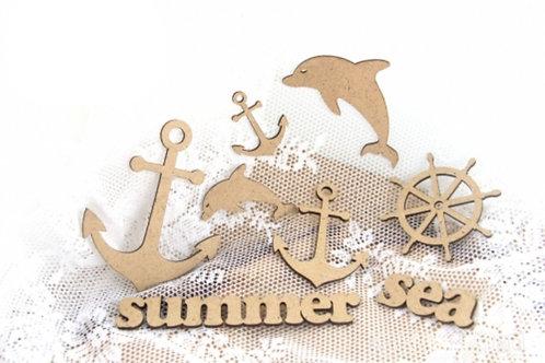 Lot découpe en bois Mer