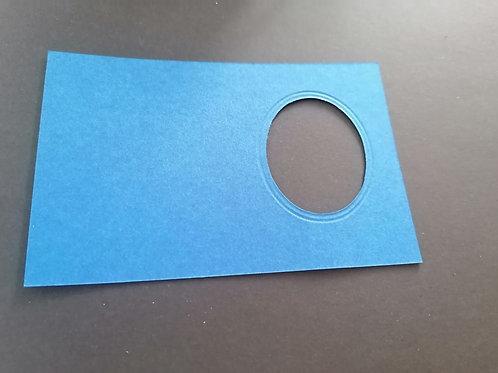 mini double carte Bleu nuit Ovale 6x8 cm