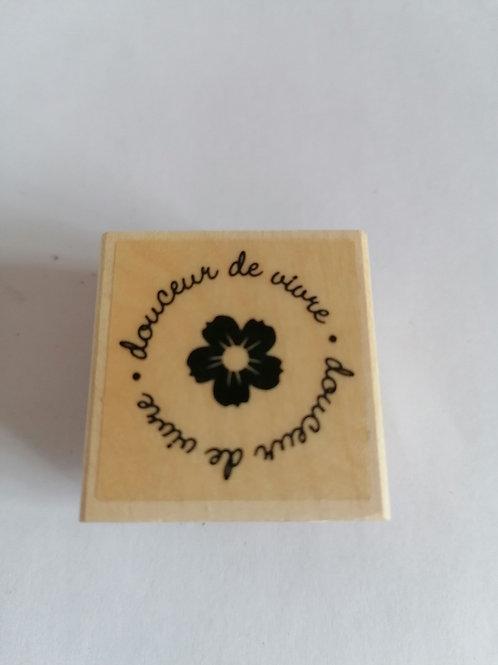 """Tampon bois fleur et""""douceur de vivre"""""""