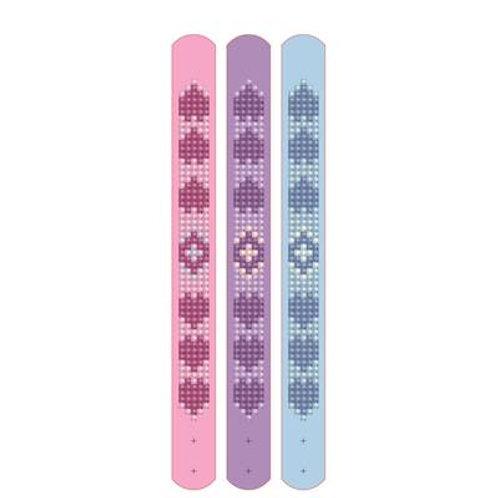 Broderie diamant 3 bracelets roses