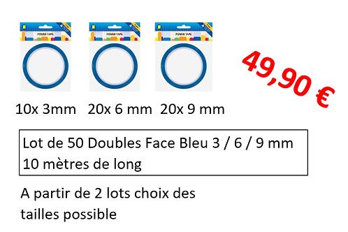 lot de 50 doubles face Bleu 3 / 6 / 9 mm