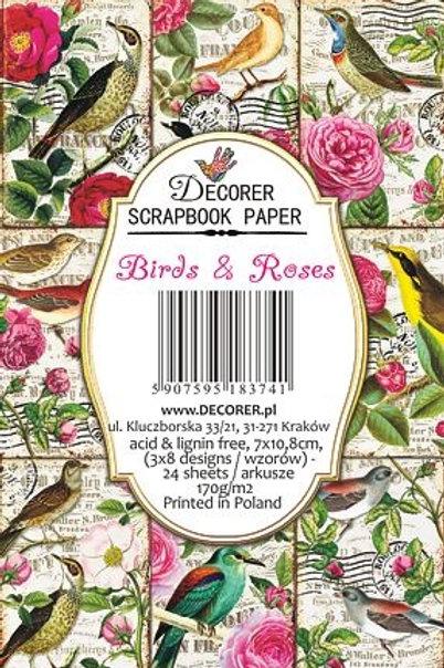 Mini Bloc Birds and Roses 7 x 10,8 cm decor-m78
