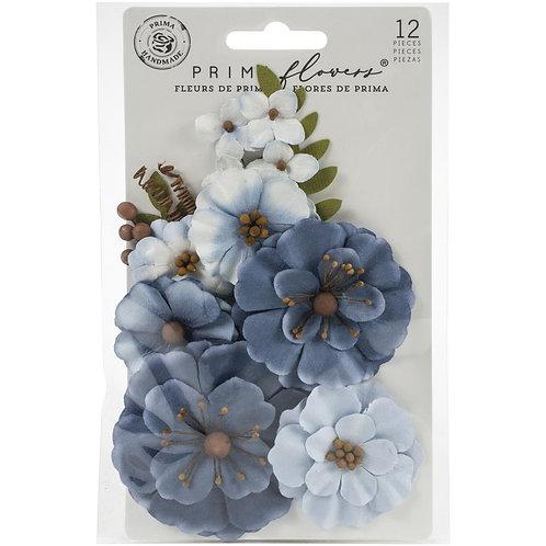 Fleurs en papiers Prima Marketing bleu