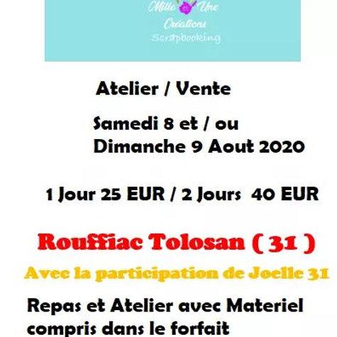 Journee Atelier et vente DIMANCHE  9 aout 2020