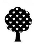 Tampon en bois arbre avecc cœurs