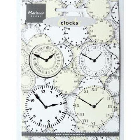 Lot de 4 Attaches parisiennes horloges en cartons 4 et 5 cm