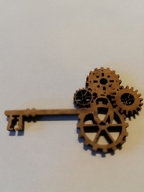 embellissement bois 2 mm clef rouage  3 x 5 cm
